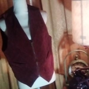 LEARSI Burgundy Real Suede Vest L